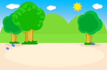 Cartoon landscape background with trees, hills and butterflies. Vector illustration
