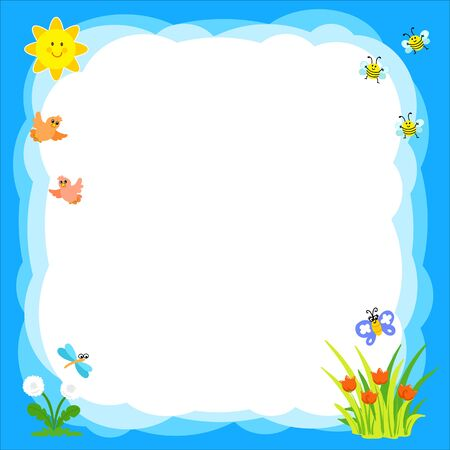 Cartoon baby sky background with cute insects, flowers and birds. Vector illustration
