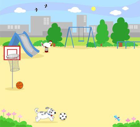 Children park landscape with children games, vector illustration Vector Illustration