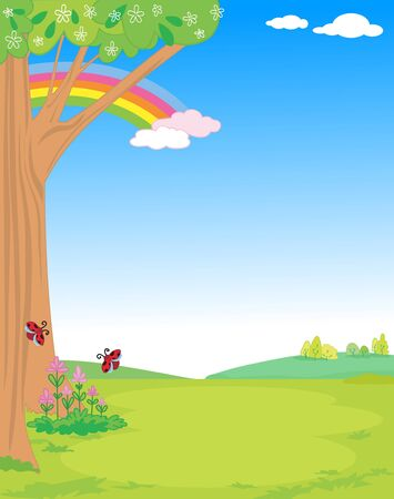 Cute spring nature scenery with tree, flowers and ladybugs for children vector illustration Illustration