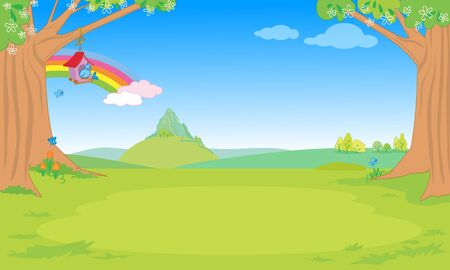 Cute spring fantastic nature landscape for children cartoon vector illustration