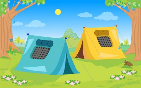 Two camping tents in natural landscape cartoon vector illustration