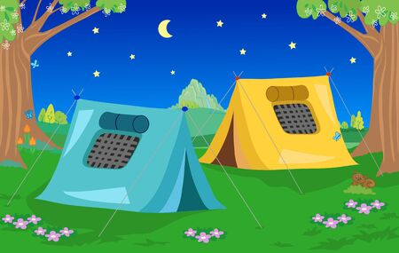 Two camping tents in natural landscape by night cartoon vector illustration