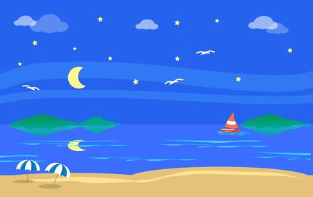 Beach sea landscape with seagulls, boat and isles by night vector illustration