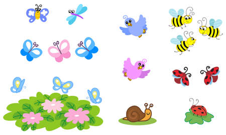 Set of vector cartoon cute insects: bee buttefly bird ladybug and dragonfly 일러스트