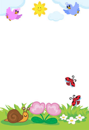 Spring frame for children, cartoon insects and birds in nature vector illustration Illustration