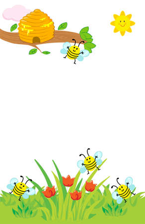 Cartoon hive and flying bees on lawn with red tulips vector illustration for children