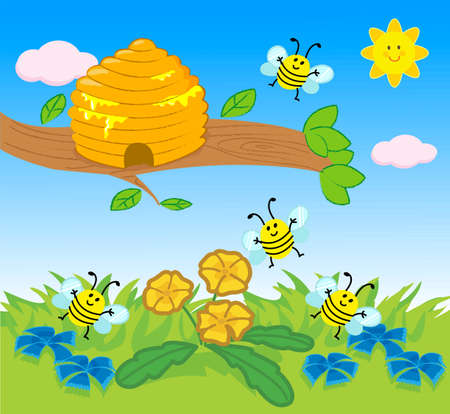 Cartoon beehive and flying bees on lawn vector illustration for children 일러스트