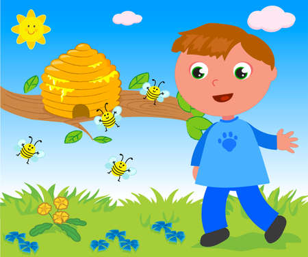 Child looking at hive with flying cute bees cartoon vector illustration 일러스트