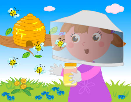 Girl beekeeper collecting honey with flying cute bees in hive, cartoon vector illustration