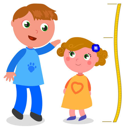 Two brothers of different age and stature, cartoon vector illustration
