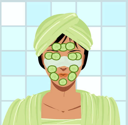 Woman in bathroom with a beauty mask for skin and cucumbers, wrapped with a green towel turban, illustration 스톡 콘텐츠