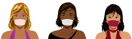 Caucasian, african and asian beautiful stylish woman with face protection mask, isolated illustration