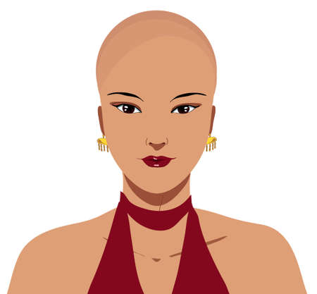 Beautiful hairless elegant chinese woman with alopecia, isolated illustration