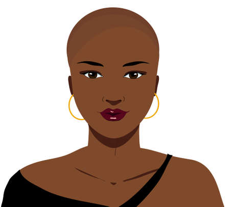 Beautiful hairless elegant african woman with alopecia, isolated illustration
