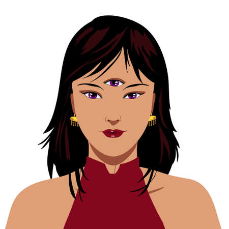 Beautiful elegant chinese woman with purple third eye, isolated illustration 스톡 콘텐츠