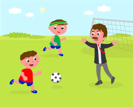 Two kids playing soccer with dad in business clothes, vector illustration 일러스트
