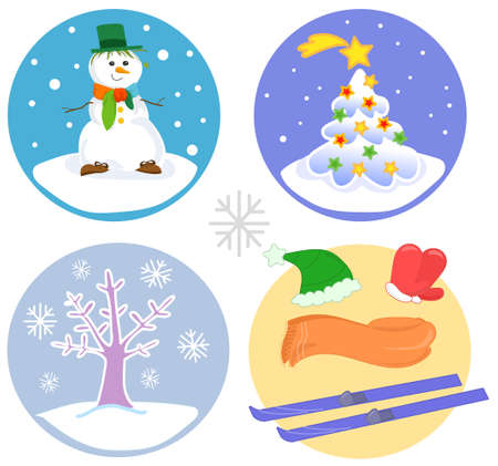 Set of icons about winter under the snow, vector illustration collection