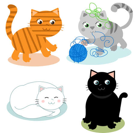 4 cute cartoon kitty cats vector illustrations
