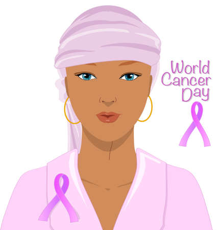 Beautiful hairless woman with pink ribbon, vector illustration for world cancer day isolated on white 스톡 콘텐츠