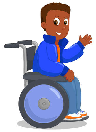 Happy african american ethnic kid on his wheelchair, vector illustration
