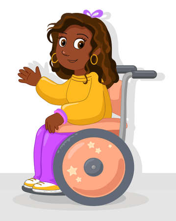 Happy african american ethnic young woman on her wheelchair, vector illustration