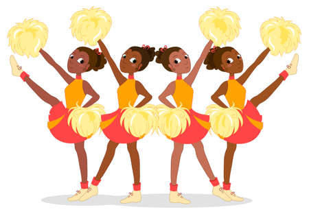 Team of four african young cheerleaders