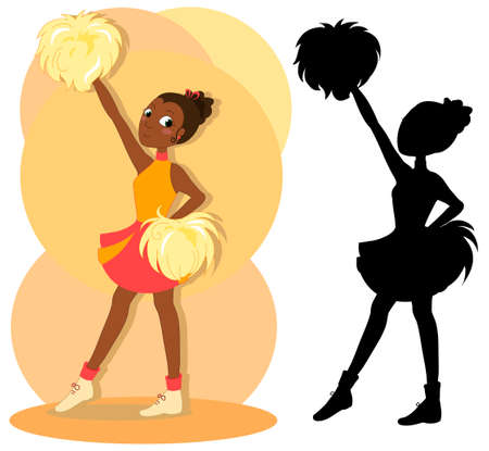 Teen beautiful african cheerleader in red with pom-poms, with black silhouette, vector illustration