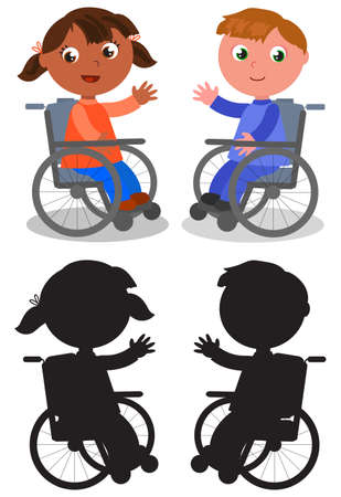 Cartoon smiling boy and girl on wheelchair black silhouettes, vector illustration 일러스트