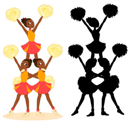 Young beautiful african cheerleaders pyramid, women team in red with pom-poms, vector illustration with black silhouette Vettoriali