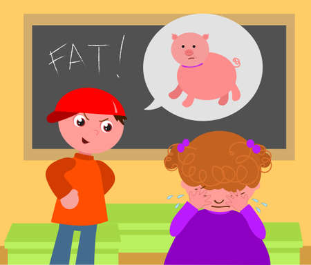 Evil boy annoys obese schoolgirl in classroom, cartoon vector illustration