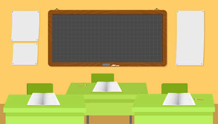 School classroom with empty desks vector illustration