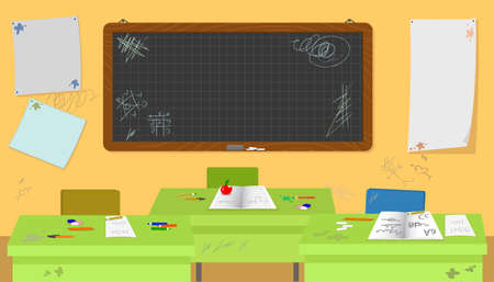 School messy classroom with empty desks and rubbish vector illustration Vettoriali