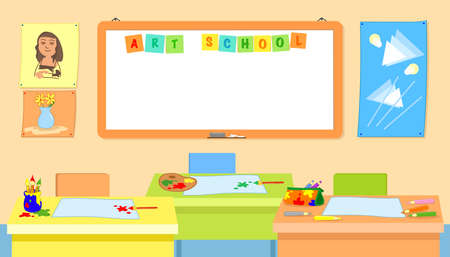 Art school classroom with empty desks vector illustration