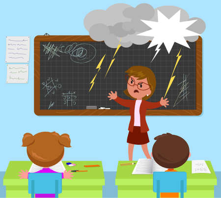 School classroom with students and furious screaming teacher cartoon vector illustration