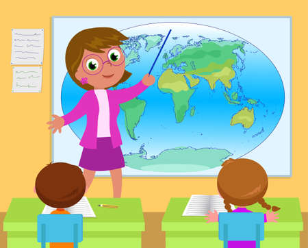 School classroom with students and geography teacher cartoon vector illustration