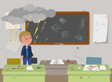 School messy classroom with empty desks and annoyed teacher vector illustration 일러스트