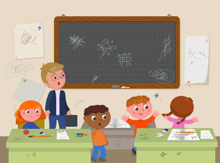 School messy classroom with bratty kids and annoyed teacher vector illustration