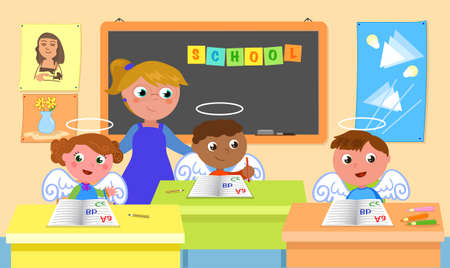 Good angelic students with teacher in school classroom, cartoon illustration
