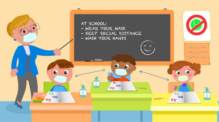 School classroom with teacher showing rules to children wearing masks, illustration