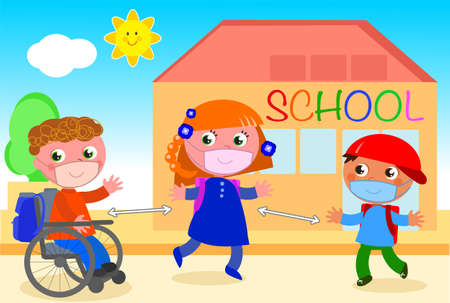 Schoolmates with protection mask keep social distancing outside school, illustration
