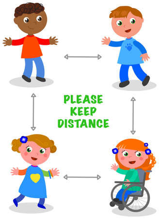 Children keep social distancing isolated cartoon  illustration