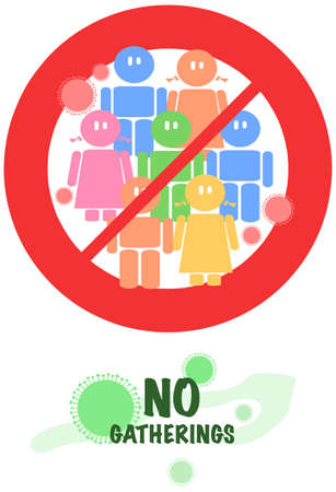 New  rules, no large social gatherings sign vector