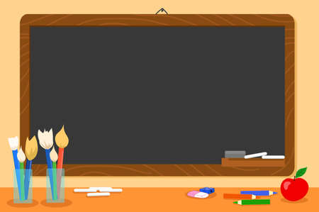 Blank black chalkboard and school supplies, illustration Vettoriali
