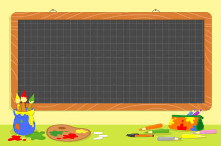 Blank checkered chalkboard and art school supplies like paint brushes and palette, illustration