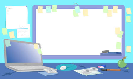 Blank whiteboard on messy dirty desk and office supplies like laptop computer, mouse and cd-rom illustration