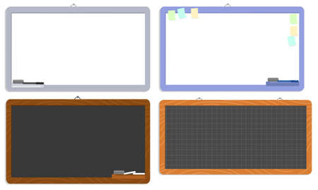 Empty whiteboards and chalkboards isolated  illustration