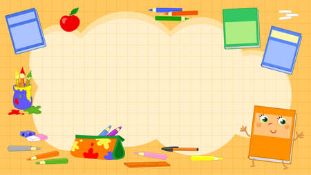 Orange squared background with primary school objects illustration