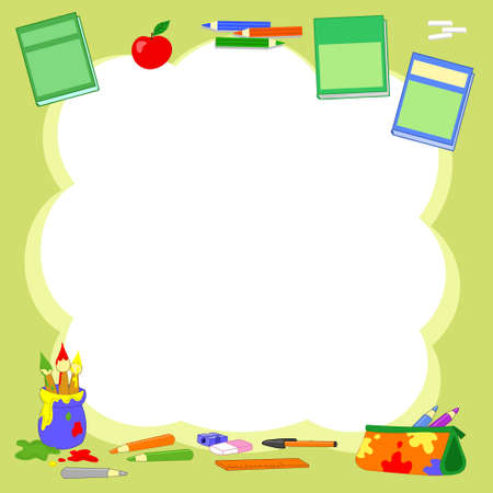 Green cloud background with primary school objects illustration 일러스트