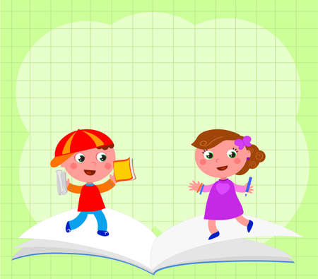 Smiling schoolboy, girl and open book on a squared sheet background vector illustration background